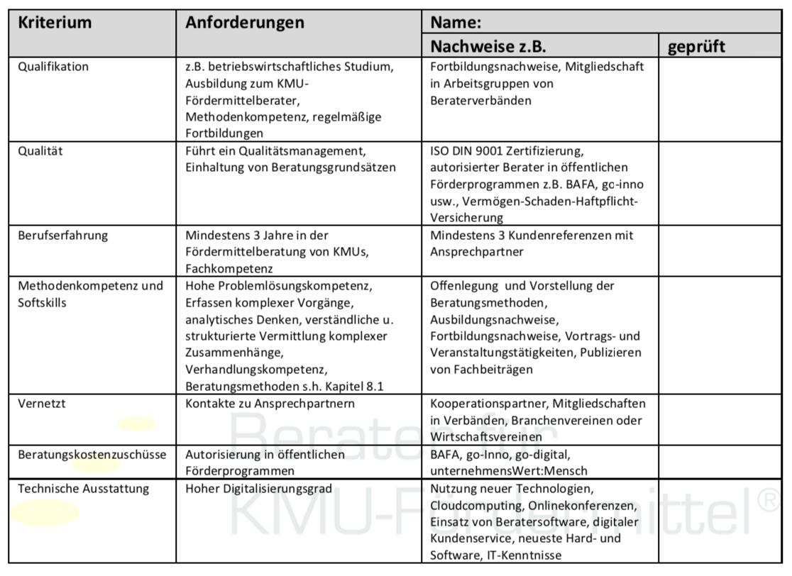 Check Anforderungen Fördermittelberater